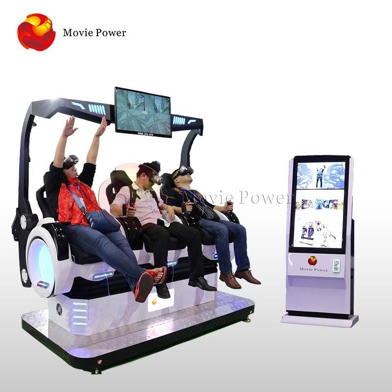 Coin Operated 9D VR Cinema 3 Seats For Indoor Playground / Shopping Mall